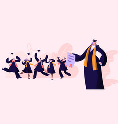 group male and female characters in graduation vector image