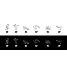 Hand-drawn pencil graphics birds set vector