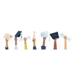 Hands hold mortarboard caps diplomas graduation vector