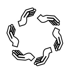 Hands human around silhouette isolated icon vector