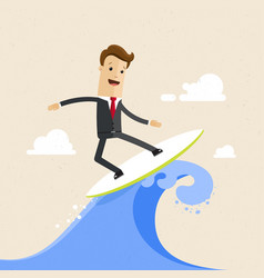Happy businessman surfing on the wave flat vector