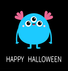 Happy halloween blue monster with three eyes and vector