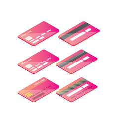 isometric credit card icon set isolated on white vector image