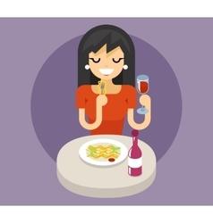 Italian pasta spaghetti noodles food dinner wine vector