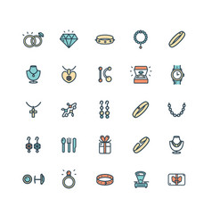 jewelry sign color thin line icon set vector image