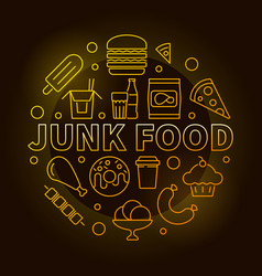 Junk food round yellow symbol vector