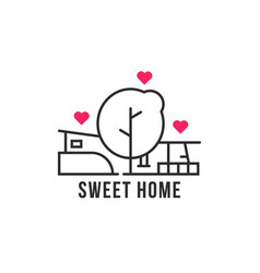 linear home in woods icon vector image