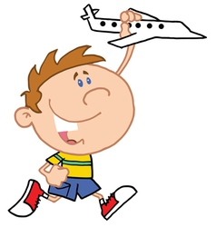 Little Boy Playing With Airplane vector image