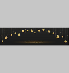 long banner with are hanging christmas decorations vector image