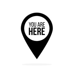map pin icon with you are here vector image