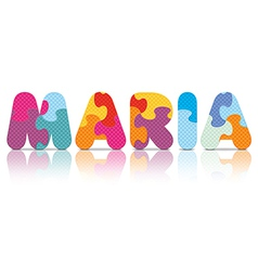 MARIA written with alphabet puzzle vector