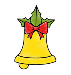 merry christmas bell decorative with bow vector image