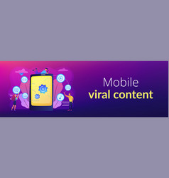 mobile content concept banner header vector image