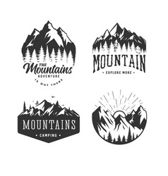 mountains logos set vector image