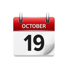 October 19 flat daily calendar icon date vector