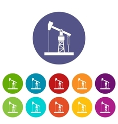 Oil pump set icons vector