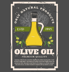 olive oil bottle with tree and green fruit branch vector image