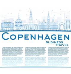 Outline copenhagen skyline with blue landmarks vector