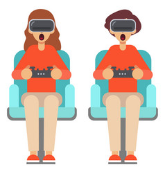People play games with vr glasses at home vector