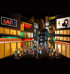 People shopping at night vector