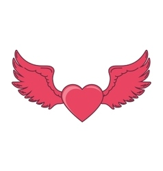 pink heart wings love vector image