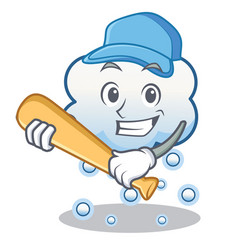 Playing baseball snow cloud character cartoon vector