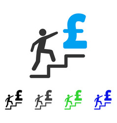 Pound business stairs flat icon vector