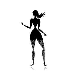 Pretty lady black silhouette floral ornament vector image