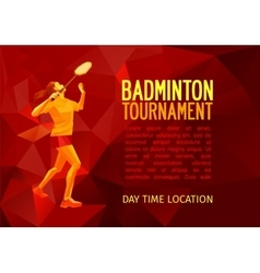 Professional badminton player banner template vector