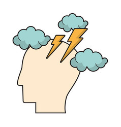 profile head brainstorm intelligence vector image