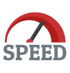 Red speedometer logo flat style vector