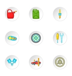 Renovation for machine icons set cartoon style vector