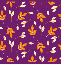 rustic fall orange leaves seamless purple pattern vector image