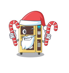 Santa with candy coffee vending machine in the vector