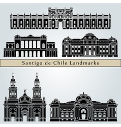 Santiago de Chile landmarks and monuments vector