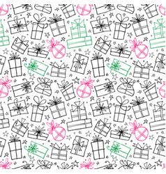 seamless pattern with colored doodle gift boxes vector image