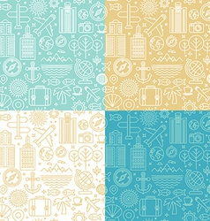 seamless pattern with linear travel icons vector image