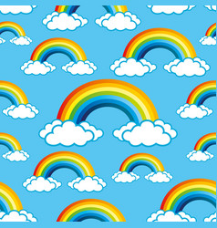 Seamless pattern with rainbow vector