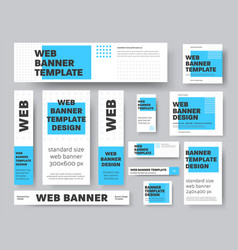 set geometric web banners with blue rectangle vector image