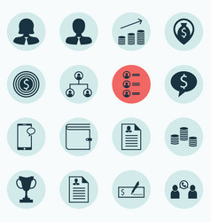 Set of 16 hr icons includes curriculum vitae vector