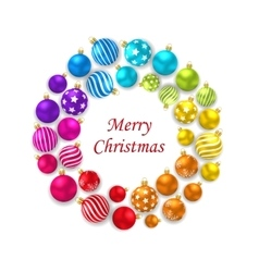 Set of Colorful Christmas Glass Balls Round Frame vector image