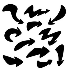 set of hand-drawn doodle black arrows on vector image