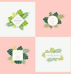 Set of monstera tropical leaves fashion signs or vector
