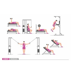 Set of workout for chest vector