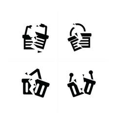 Shopping cart break icon set vector
