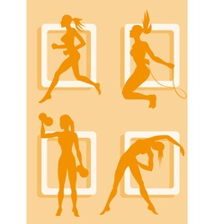 Silhouette of a Lady Working Out vector image