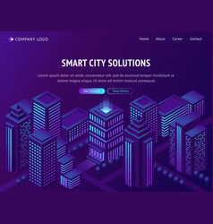 smart city solutions isometric landing web page vector image