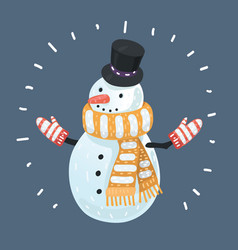 snow man on dark background vector image