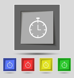 Stopwatch icon sign on original five colored vector image