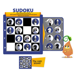 Sudoku game chess pieces iq vector